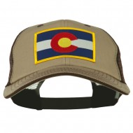 Colorado Western State Patched Big Washed Mesh Cap - Khaki Brown