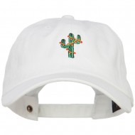 Christmas Cactus Embroidered Unstructured Cap - White