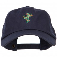 Christmas Cactus Embroidered Unstructured Cap - Navy
