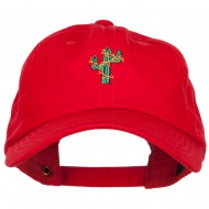 Christmas Cactus Embroidered Unstructured Cap - Red