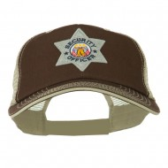 USA Security Officer Patched Big Size Washed Mesh Cap - Brown Beige