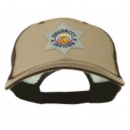 USA Security Officer Patched Big Size Washed Mesh Cap - Khaki Brown