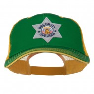 USA Security Officer Patched Big Size Washed Mesh Cap - Kelly Gold