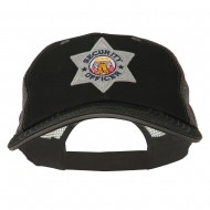 USA Security Officer Patched Big Size Washed Mesh Cap - Black Grey
