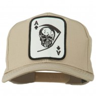 Ace Military Card Patched Solid Twill Cap - Khaki