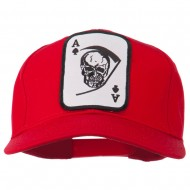 Ace Military Card Patched Solid Twill Cap - Red