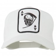Ace Military Card Patched Solid Twill Cap - White