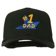 Number 1 Dad Star Embroidered Cap - Black