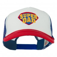 Super DAD Embroidered Foam Mesh Back Cap - Red White Royal