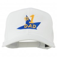 Number 1 Dad Star Embroidered Cap - White