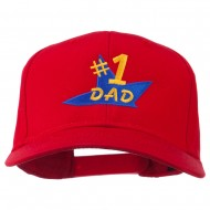 Number 1 Dad Star Embroidered Cap - Red