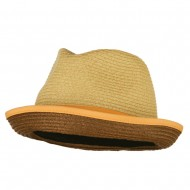 Men's Double Bow Band Fedora - Beige