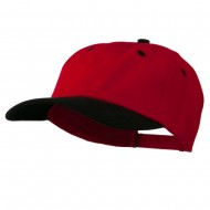 Deluxe Brushed Cotton Two Tone Cap - Red Black