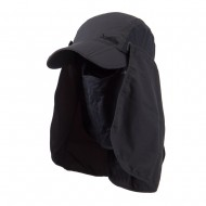 UV 50+ Folding Bill Cap with Double Flaps - Charcoal