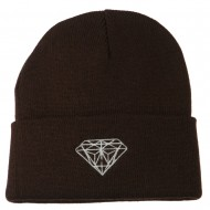 Diamond Embroidered Long Beanie - Brown