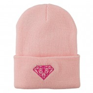 Diamond Embroidered Long Beanie - Pink