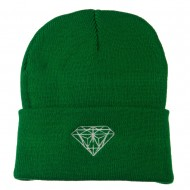 Diamond Embroidered Long Beanie - Kelly