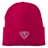Diamond Embroidered Long Beanie - Hot Pink