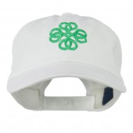 Double Circle Celtic Image Embroidered Cap - White