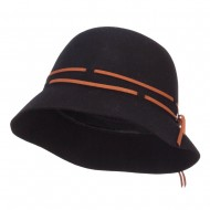 Women's Double Tie Wool Cloche Hat - Black