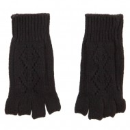 Women's Diamond Design Fingerless Glove - Black