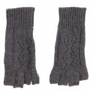 Women's Diamond Design Fingerless Glove - Grey
