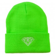 Diamond Neon Embroidered Beanie - Green