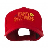 Happy Halloween Dripping Down Embroidered Cap - Red