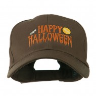 Happy Halloween Dripping Down Embroidered Cap - Brown