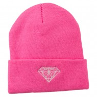 Diamond Neon Embroidered Beanie - Pink