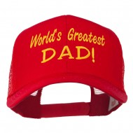World's Greatest Dad Embroidered Mesh Back Cap - Red