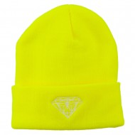 Diamond Neon Embroidered Beanie - Yellow