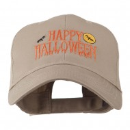 Happy Halloween Dripping Down Embroidered Cap - Khaki
