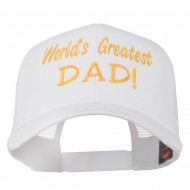 World's Greatest Dad Embroidered Mesh Back Cap - White