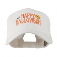 Happy Halloween Dripping Down Embroidered Cap - White