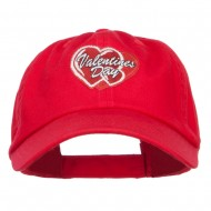Valentine's Day Double Hearts Patched Low Cap - Red