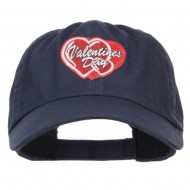 Valentine's Day Double Hearts Patched Low Cap - Navy