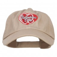 Valentine's Day Double Hearts Patched Low Cap - Khaki