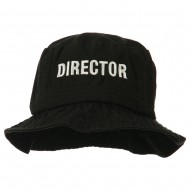 Director Embroidered Pigment Dyed Bucket Hat - Black