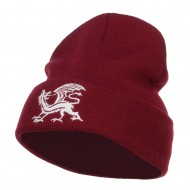 Dragon Emblem Embroidered Long Beanie - Maroon