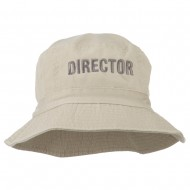 Director Embroidered Pigment Dyed Bucket Hat - Natural