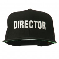 Director Embroidered Flat Bill Cap - Black