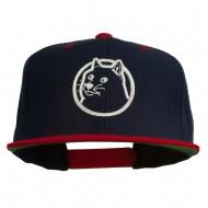 Dog Face Embroidered Flat Bill Snapback Cap - Navy Red