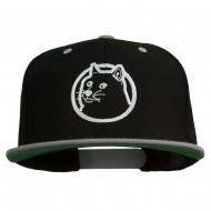 Dog Face Embroidered Flat Bill Snapback Cap - Black Silver