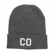 CO Colorado State Embroidered Cuff Beanie - Dk Grey