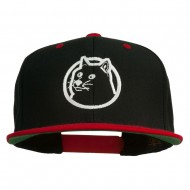 Dog Face Embroidered Flat Bill Snapback Cap - Black Red