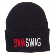 SWAG SWAG Embroidered Long Beanie - Black