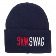 SWAG SWAG Embroidered Long Beanie - Navy