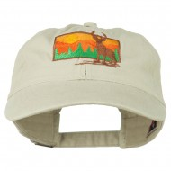 Deer Hunting Silhouette Embroidered Washed Cotton Cap - Stone