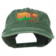 Deer Hunting Silhouette Embroidered Washed Cotton Cap - Dark Green